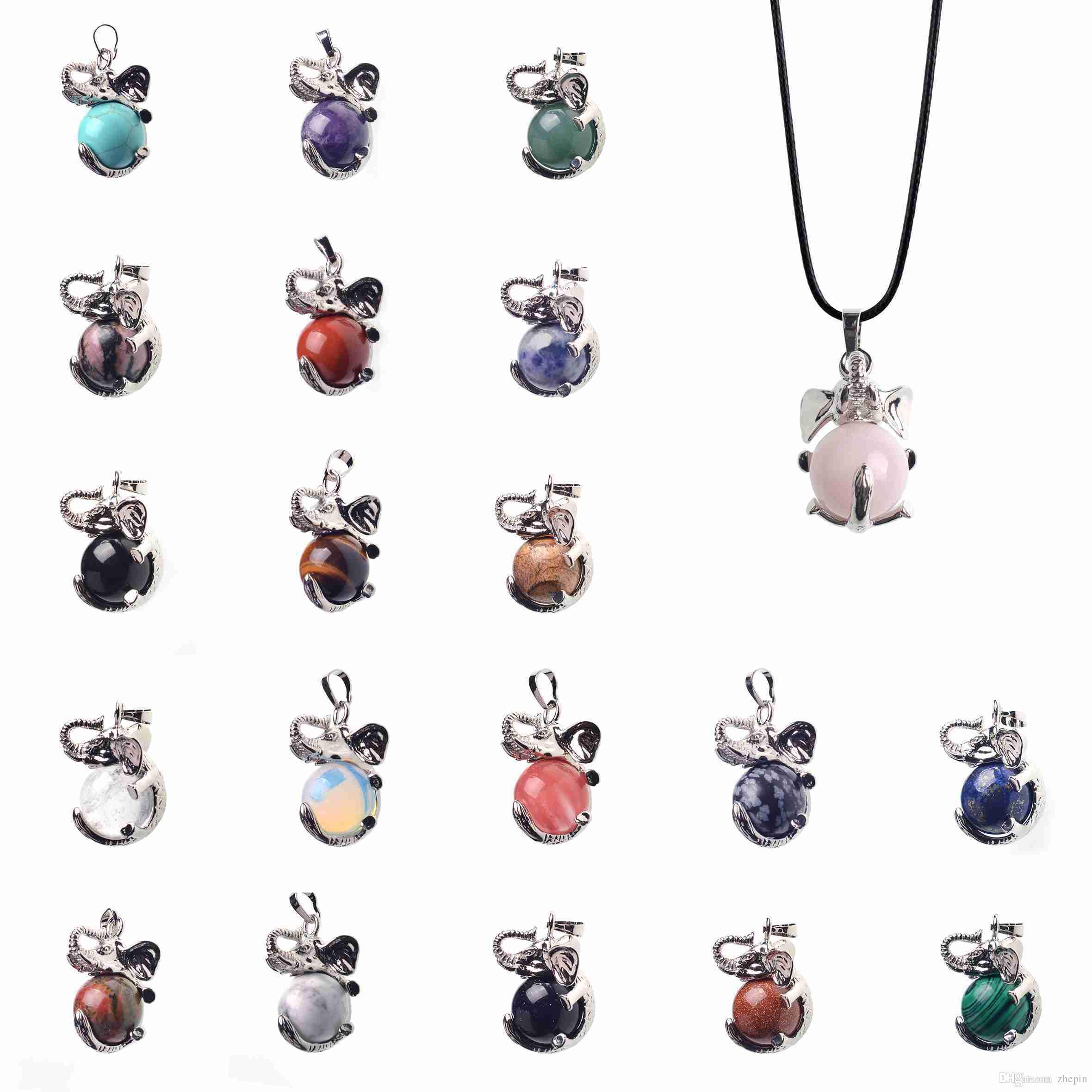 Compre zhepin healing chakra gemstone charm natural crystal ball compre zhepin healing chakra gemstone charm natural crystal ball colgante de aleacin de plata elephant charm pendant necklace womens necklace a 282 del aloadofball Image collections
