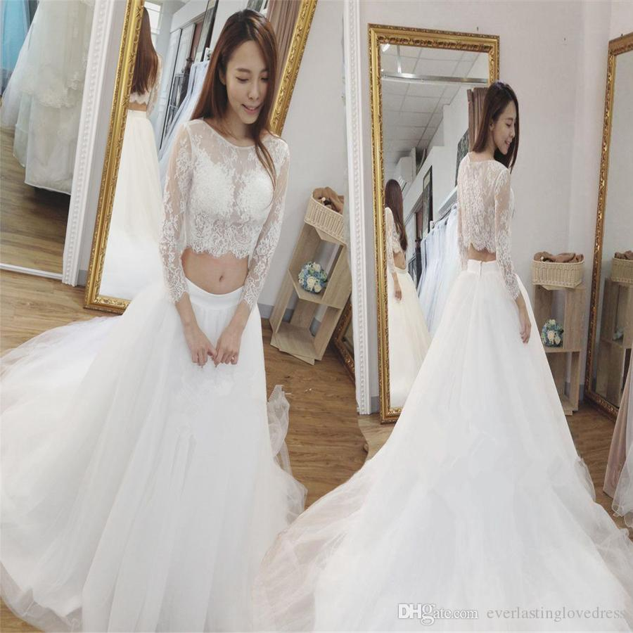 Discount New Boho Two Pieces Wedding Dress Bateau Neck Lace Three