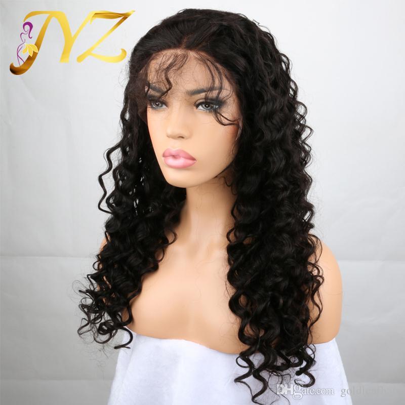 인간의 머리 가발 레이스 프론트 브라질 말레이시아 인도 곱슬 머리 전체 레이스 가발 레미 버진 헤어 레이스 프런트 가발 흑인 여성