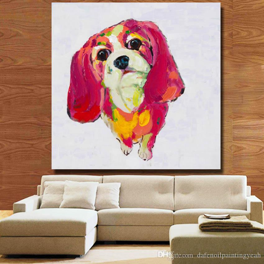 Modern Red Hair Dog Oil Painting for Living Room Decoration Hand Painted Oil Canvas Painting Home Decor Wall Pictures No Framed