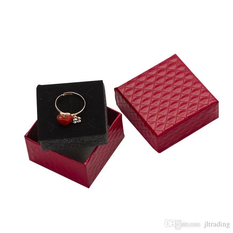5*5*3cm Jewelry Display Box Multi Colors Black Sponge Diamond Patternn Paper Ring /Earrings Box Packaging Gift Box