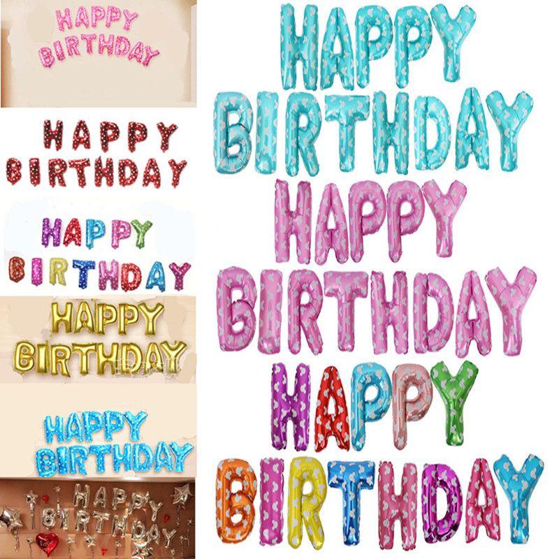 16 Inch HAPPY BIRTHDAY Alphabet Letters Helium Balloons Birthday Party Decoration Supplies Aluminum Foil Membrane Ballon Kid Gift