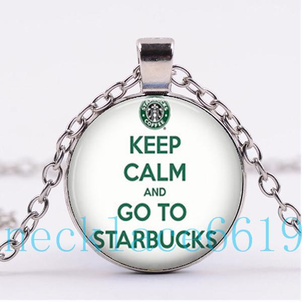 Wholesale Keep Calm Go To Starbucks Necklace PendantChristmas GiftBirthday GiftCabochon Glass NecklaceSilver Black Fashion Jewelry R 1105 Chain