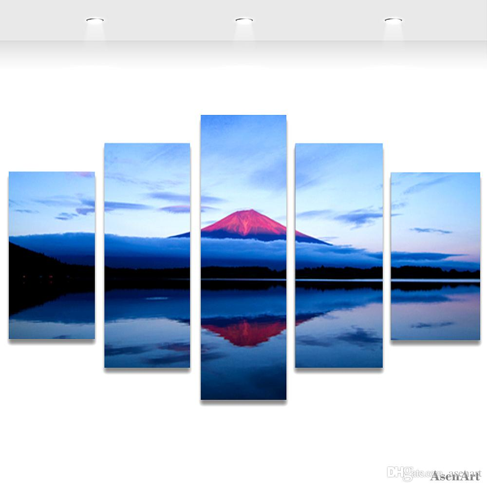 Painting Volcano Lake Landscape Painting Canvas Print Modern Home Decoration Wall Art Picture for Living Room Frameless