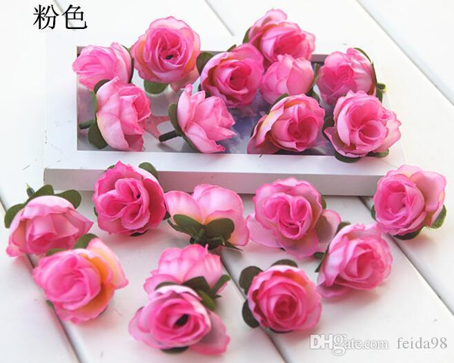 NEW 3cm Artificial Silk Rose Camellia Flower Head Leaves Wedding Christmas Decor Available HJIA1019