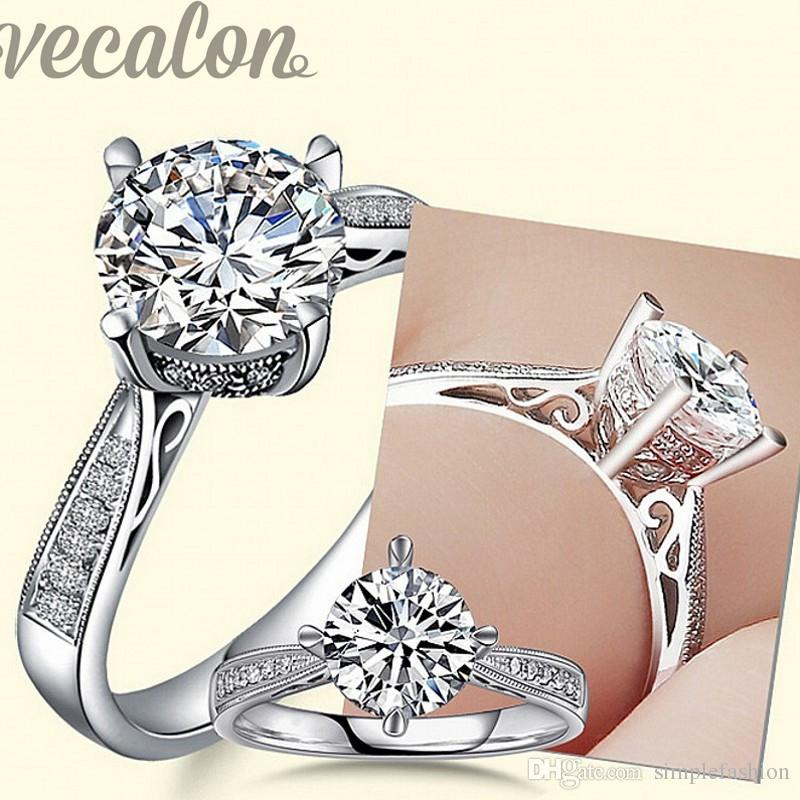 Vecalon design de moda Anel de casamento Banda anel para as mulheres 1ct Cz anel de diamante 925 Sterling Silver Anel de Noivado Feminino Dedo
