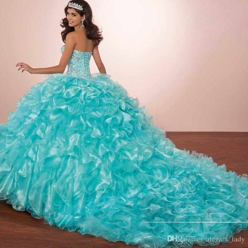 Abito da Ballo in Maschera di Lusso Cristalli Principessa Puffy Abiti da Quinceanera Turquoise Ruffles Vestidos De 15 Abito con giacca Bolero