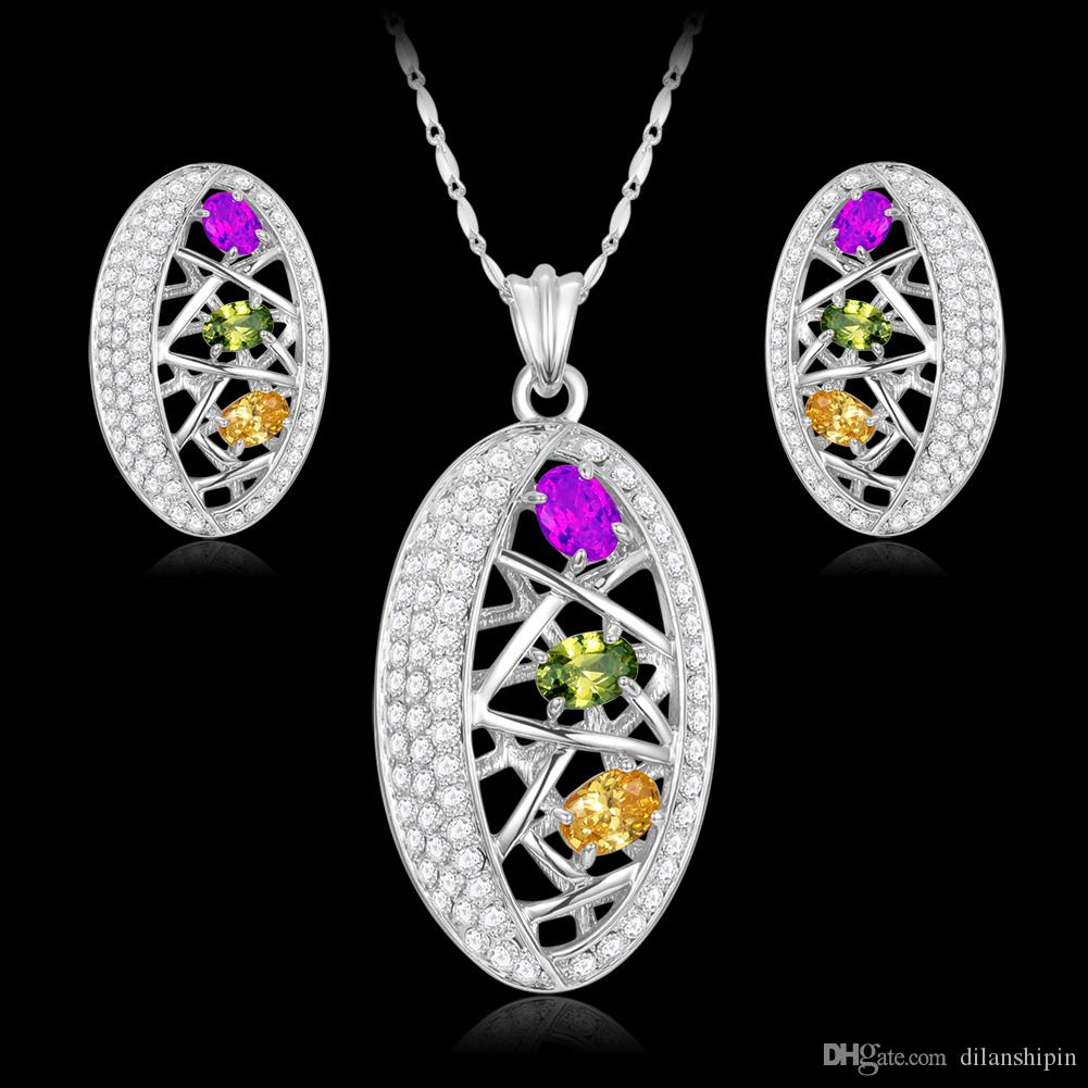 jewelry sets for women Austrian Crystal fashion 18k gold platinum plated pendant necklace earring set jewellery bijoux wholesale