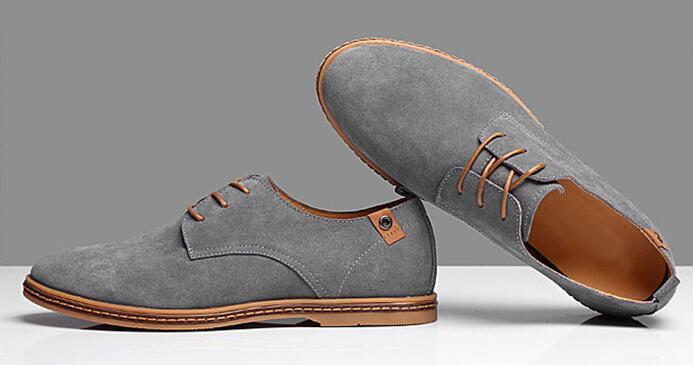 Erkek Gündelik Elbise Resmi Oxfords Ayakkabı Kanat Ucu Süet Deri Flats Lace Up Büyük Boy Ayakkabı İngiliz Moda Parti Elbise Ayakkabı Ücretsiz Kargo