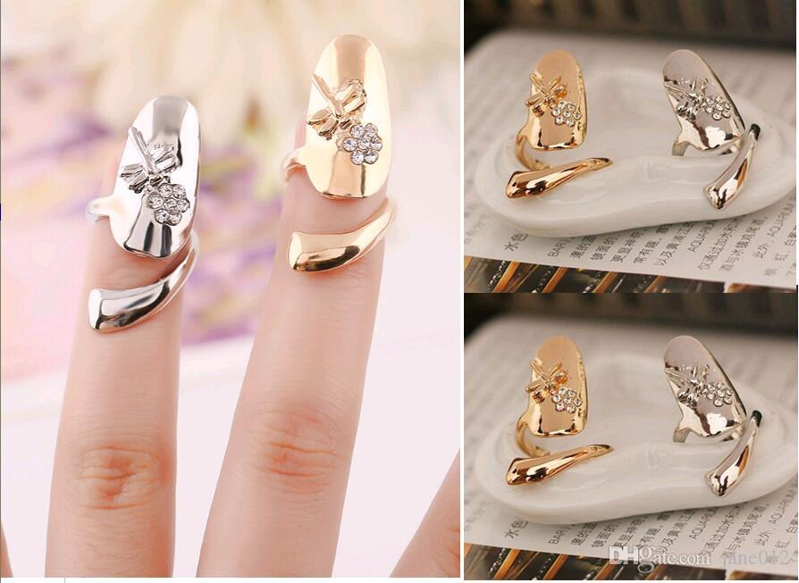 Cute Exquisite Queen Dragonfly Design Rhinestone Plum Snake Gold