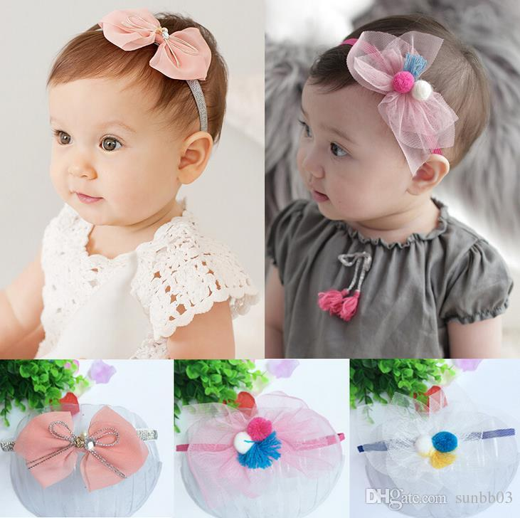 New Fashion Infant Baby Cute Bowknot Headbands Gauze Colorful Girls Hair Bands Childrens Elastic Hair Accessories Kids Lovely Hairbands