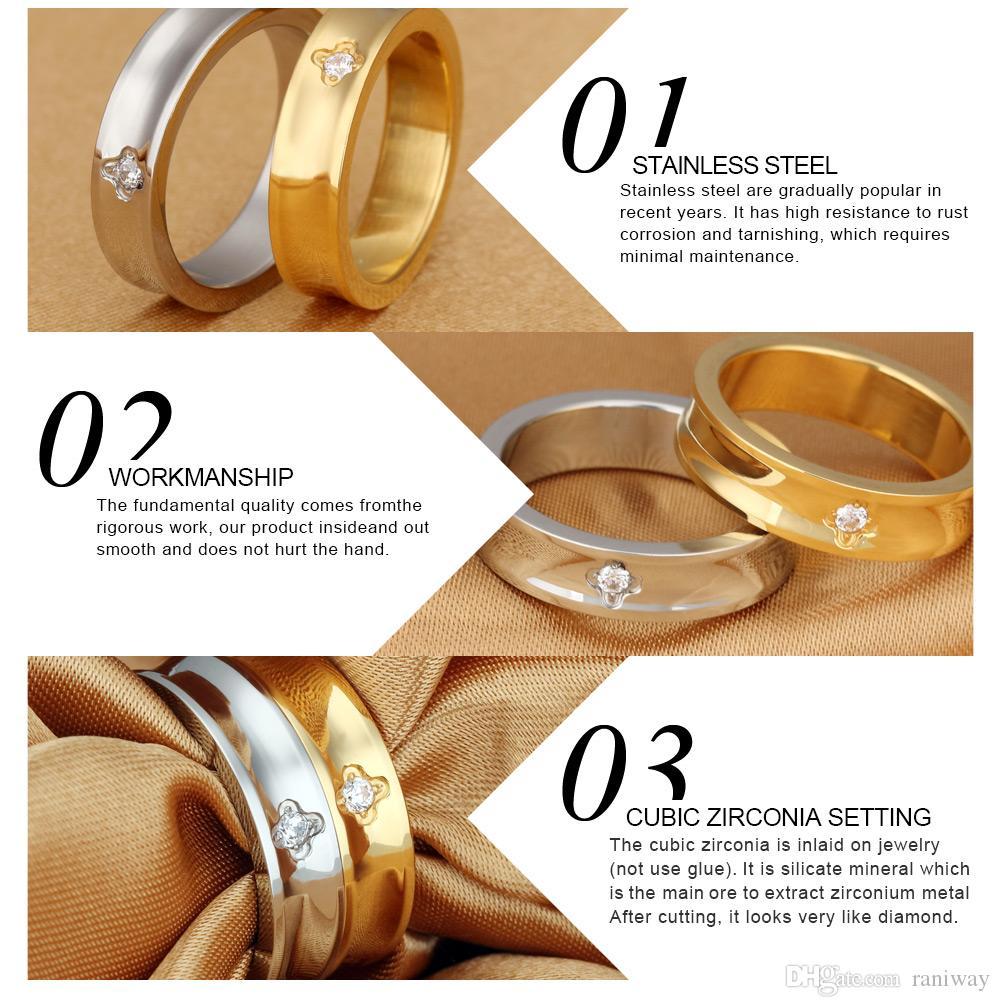 진짜 사랑 클로버 지르코니아 스테인레스 스틸 커플 링 그와 그녀의 약속 결혼 반지 세트 발렌타인 사랑 커플 보석 선물