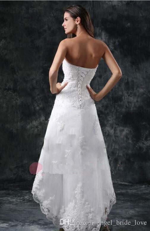 2016 짧은 해변 웨딩 드레스 라인 Strapless Appliques 레이스 코르 셋 다시 섹시한 흰색 아이보리 신부 가운 QA07