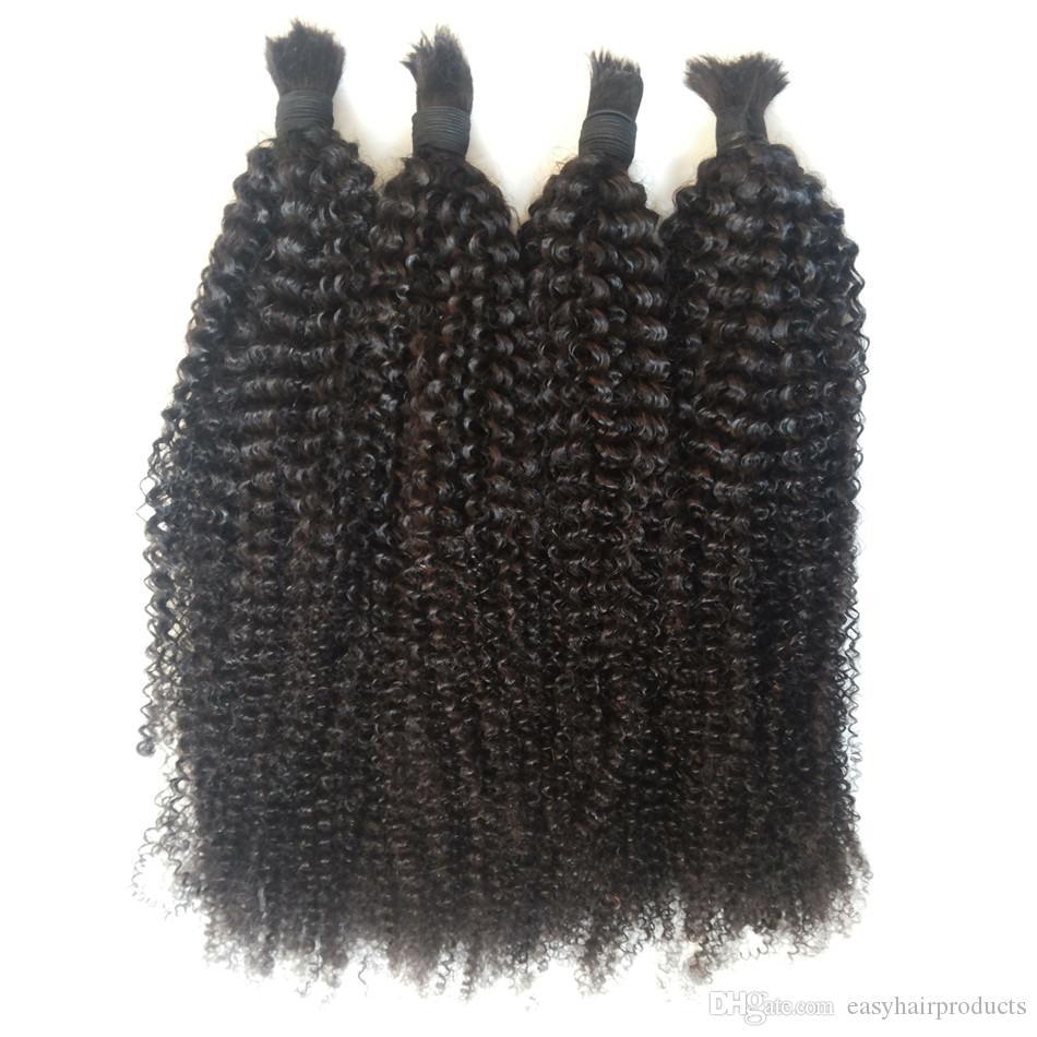 Cabelo Humano Virgem A Granel Para Trança Malaio Afro Kinky Curly Cabelo A Granel Sem Trama 8-30 polegada G-FÁCIL