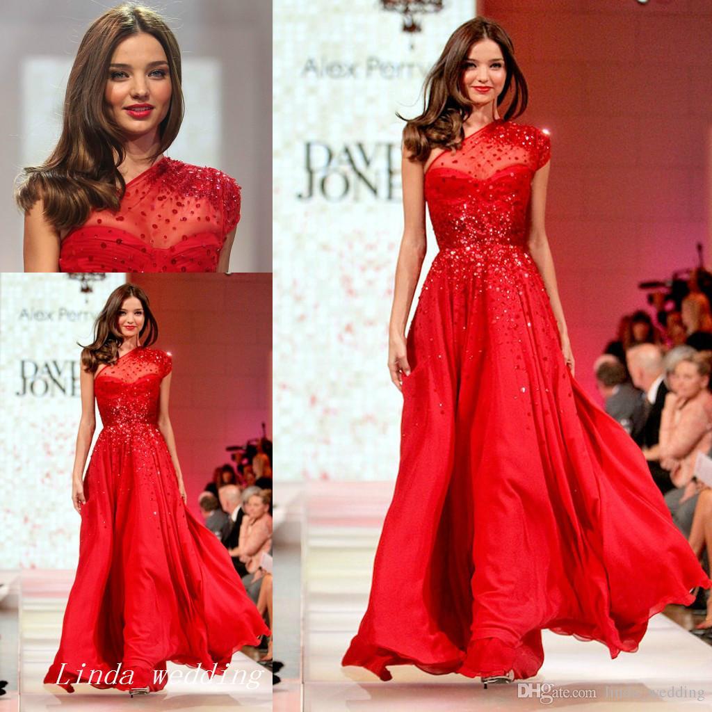 Fashion Miranda Kerr Runway Red Chiffon Evening Dress One Shoulder ...