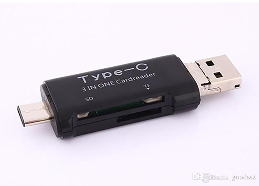 새로운 3 in 1 USB 3.1 유형 C 마이크로 USB OTG USB 카드 리더 마이크로 SDHC SD TF Type-C 카드 리더 Samsung Note7 iPhone7 MacBook 노트북
