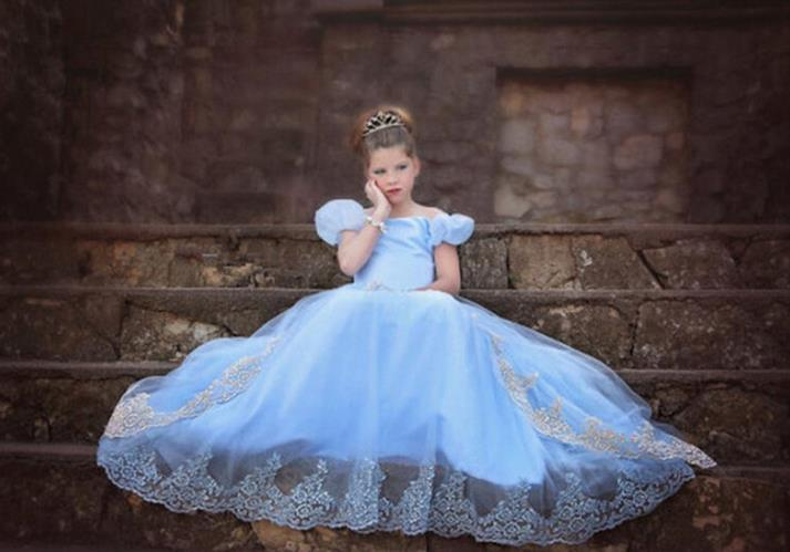 2018 Fashion Children Cosplay Princess Cinderella Costume Dresses ...