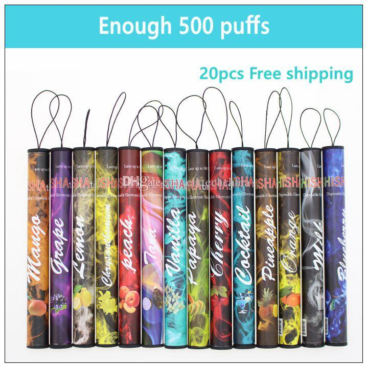 E ShiSha Time disposable electronic cigarette - 20PCs. Enough 500 Puffs Various fruit flavors colorful Disposable e-cigs hookah pen