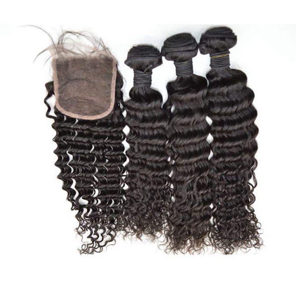 3 bundles with closure natural black peruvian deep wave human hair bundle lace closure G-EASY