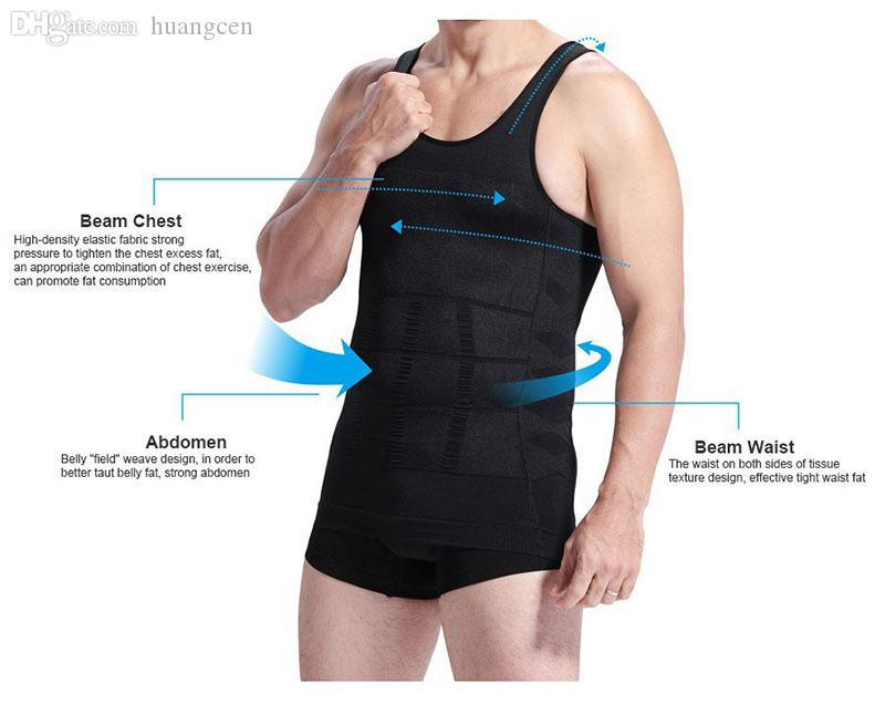 431c35a414 2019 Wholesale Men Chest Shaper Bodybuilding Slimming Belly Abdomen Tummy  Fat Burn Posture Corrector Compression Shirt Corset For Male From Huangcen