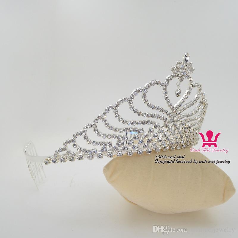 Bridal Diademi Corona Cuore strass Accessori capelli Principessa Regina Cristallo Moda Diademi Pettine Fascia Clip Partito Prom Show 02397
