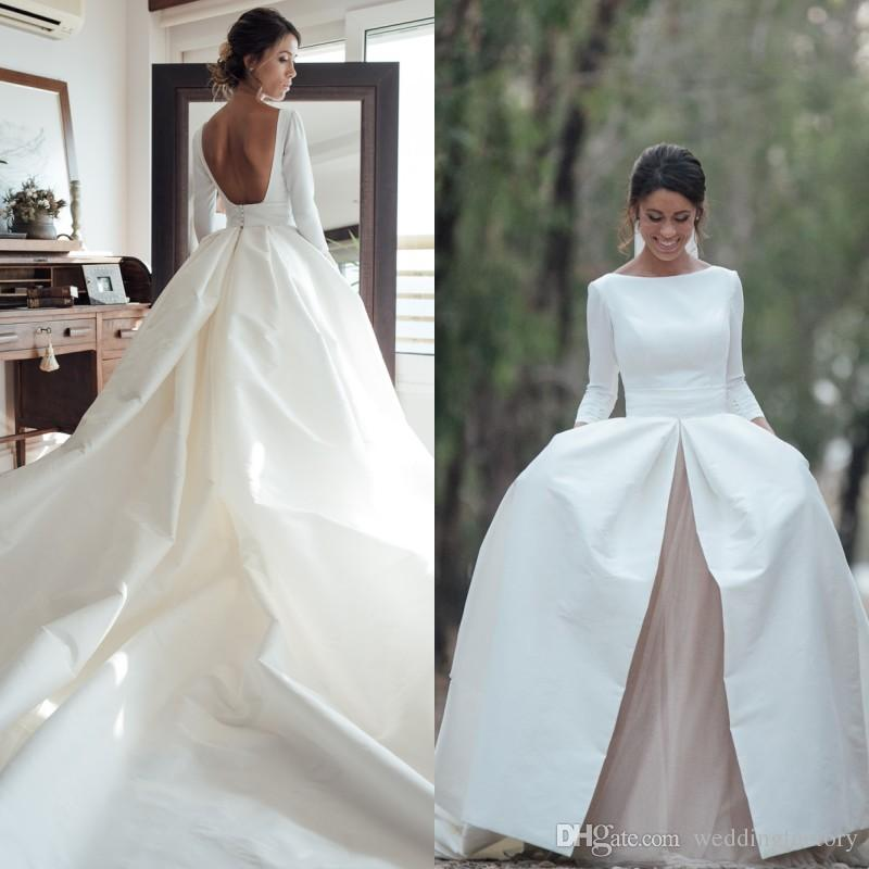 a63da6c2e828 Discount Modern Country Wedding Dress Sleeves 2017 Bateau Neck A Line  Backless Champagne Tulle White Ivory Bridal Gowns With Long Train Cheap  Wedding Gown ...