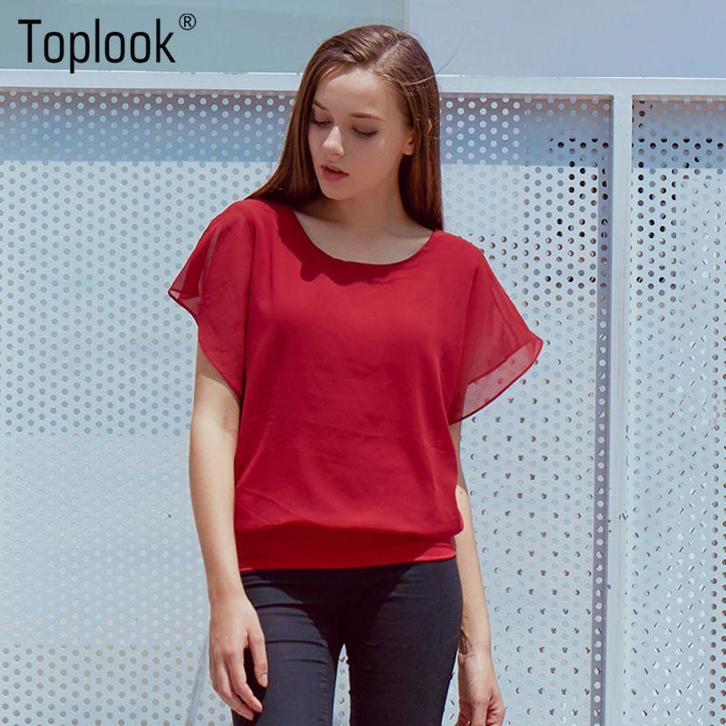 765ac3d4 2019 Wholesale Hot Fashion Blusa Feminina 2015 Summer Casual Plus Size Slim  Bat Sleeve Chiffon Shirt Women Blouse Blusas Women Tops Clothing From  Huoxiang, ...