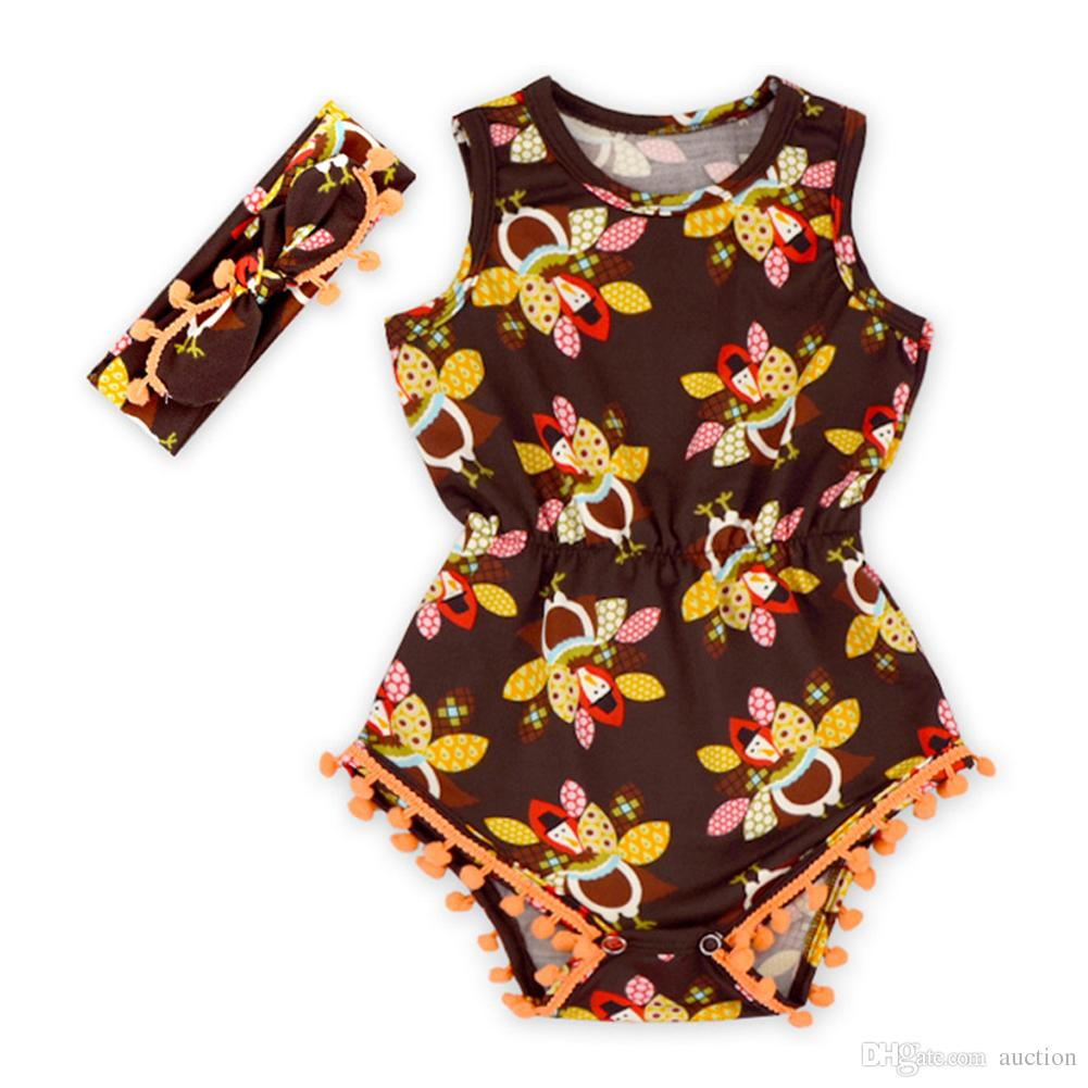 2e29608b43a2 2019 Thanksgiving Turkey Baby Girls Romper