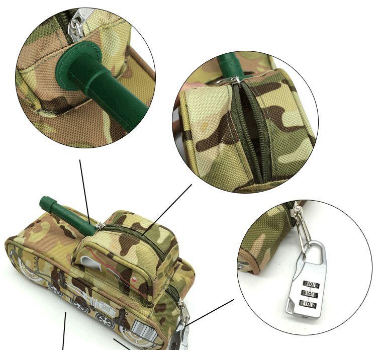 Cool tank style handsome boy password lock stationery storage bag outdoor debris bag zipper sports bag anti-theft 17082601