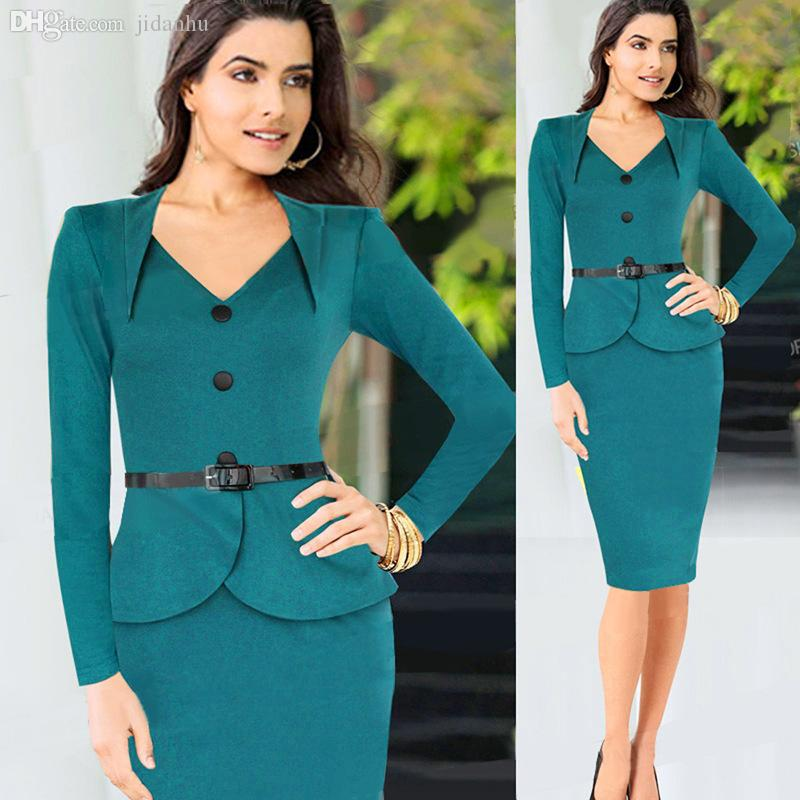 Wholesale Womens Solid Elegant Business Suits Blazer With Skirts Formal Office  Suit Work Ladies Knee Length Bodycon Pencil Dress For Women Dresse Dress ...