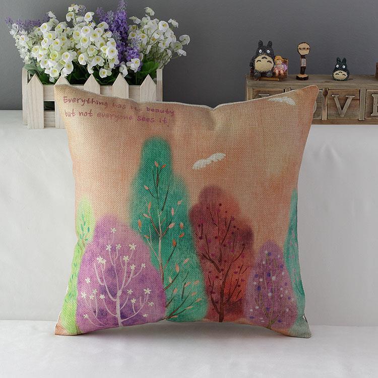 45 см счастливая жизнь свежее дерево хлопок льняная ткань бросить подушку 18 дюймов ручной работы новый домашний офис спальня украшения диван подушка