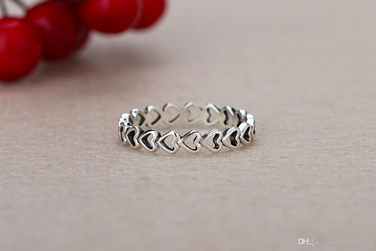 레이디 발렌타인 데이 선물 하트 반지와 함께 고품질 925 실버 도금 결혼 반지 여성 판도라 스타일 하트 커플 반지