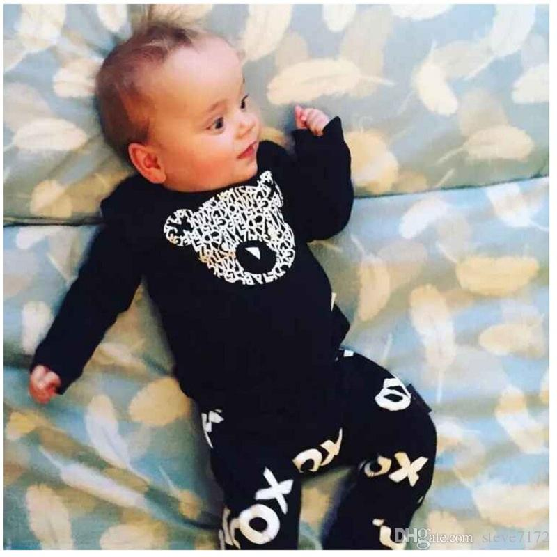 Hooyi Baby Clothes Set Boys T-Shirt Pant Suits Cotton Infant Clothing Suit Outfit Raccoon Panda Tee Shirts Trouser Black Tops