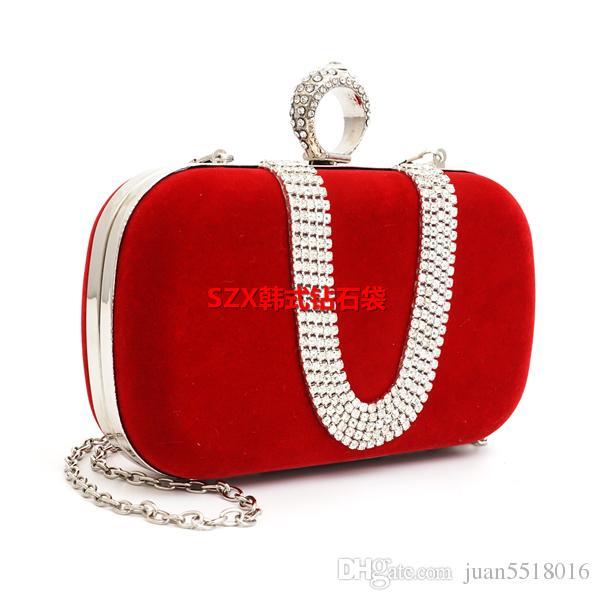 2016 New Diamond Finger Ring clutch women bags evening bags U-type diamond velour small purse holder bags packet