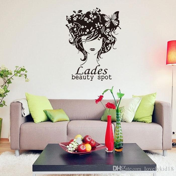 Fashion Ladies Beauty Spot Wall Stickers Flower Girls Wall Decals Wallpaper  Art For Bedroom Living Room Home Decor Ws266 Wall Stickers For Boys Wall ... Part 95