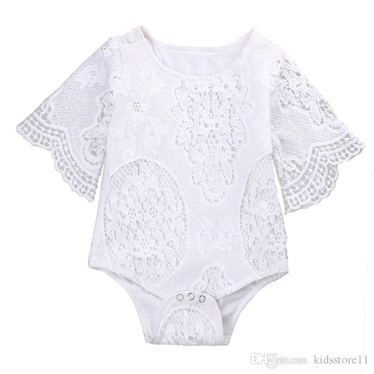 2017 INS New Baby Girl White Lace Rompers Infant Toddlers Floral Fly Sleeve One Piece Jumpsuit