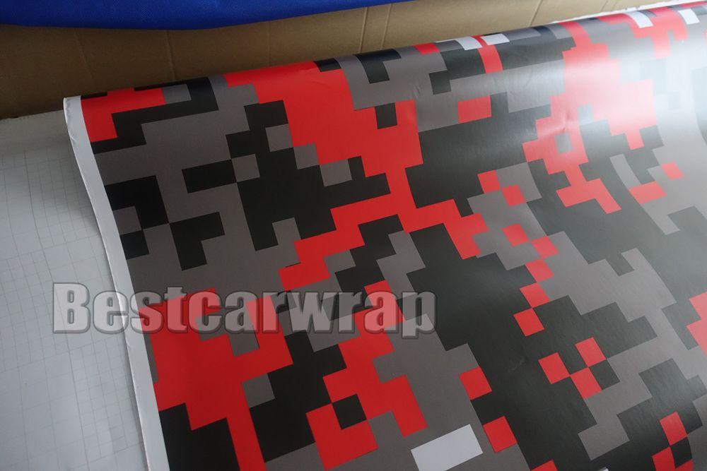 РАЗЛИЧНЫЕ Цвета Pixel Camo Виниловая пленочная пленка для автомобилей с воздушным выпуском Цифровой камуфляж Грузовик упаковывает покрытие для укладки Размер фольги 1.52x30m / Roll 5x98ft