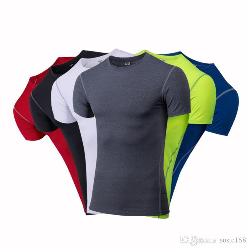 2019 Erkek Giyim Spor Sıkıştırma Taban Katmanları Tops T-shirt Koşu Mahsul Tops Spor Fitness Giymek