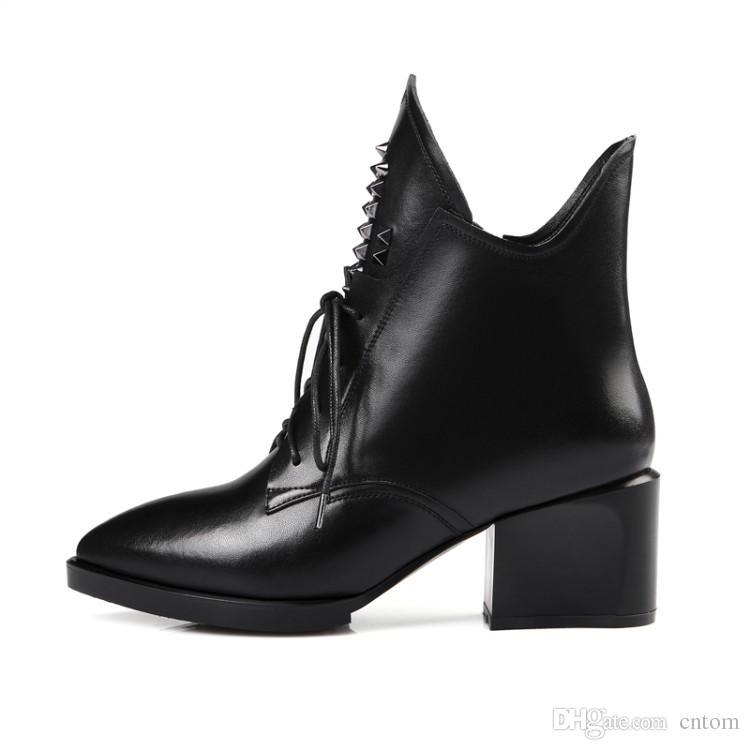 Botas de cuero genuino nuevos Zapatos de mujer tacón alto 6.2CM Talón grueso EUR Tamaño 30-44