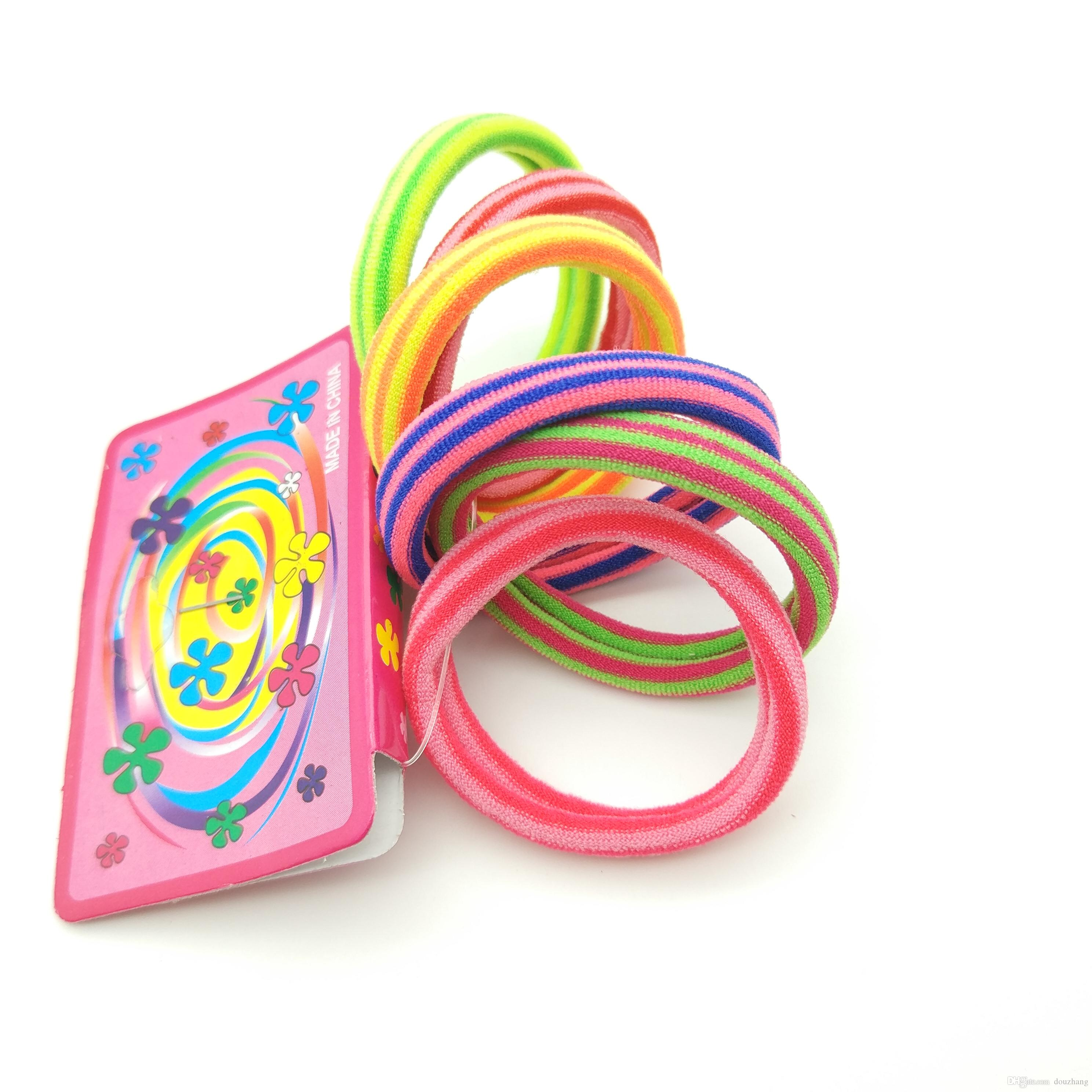 /pack Size 4cm Striped Colored Elastics Rubber Bands Hair Accessories Colorful Headband Girls Tie