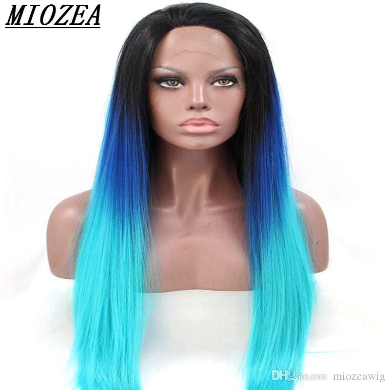 """Hair 26"""" Long Straight Wig Synthetic Lace Front Wigs Heat Resistant Fiber Hair Dark Root Ombre Blue/Sky blue Wig"""
