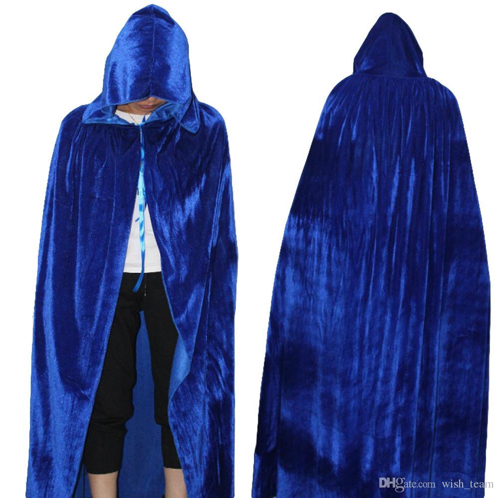 Gótico capucha manchas Capa Wicca Robe bruja Larp Cabo mujeres Disfraces de Halloween Vampiros Witche partido de lujo de los hombres Tamaño S M L XL