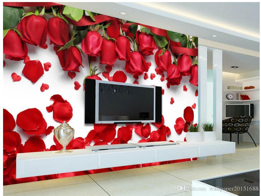 3d duvar resimleri Güzel romantik aşk kırmızı gül çiçek taç yaprağı TV arka plan duvar 3d doğa duvar kağıtları duvar kağıdı