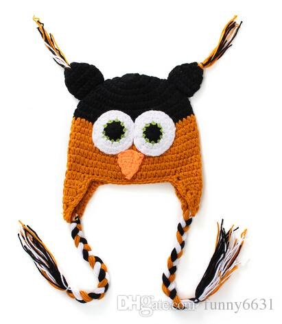 WINTER Hot sales Baby hand knitting owls hat Knitted hat Children's Caps crochet hats for kids BOY AND GIRL HAT