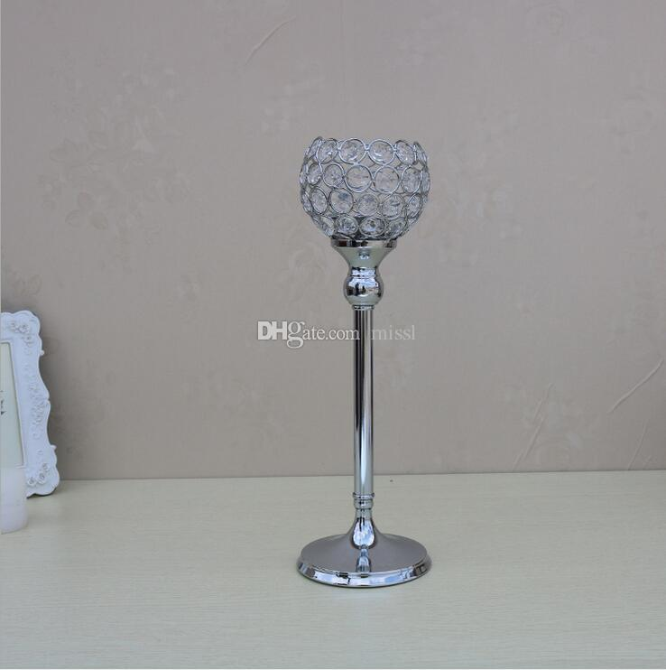 High quality glass Crystal Candle Holders 12*30cm Tall Wedding Centerpiece Metal Silver Gold Candlestick Candle Stand