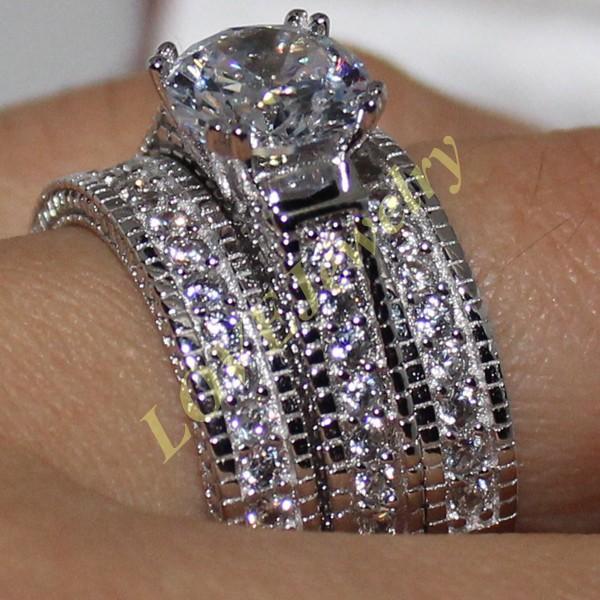 Taille 6-10 Dame S925 Argent Rond Diamant Simulé CZ Pierre 3-en-1 Sculpture Artisanat Triple Anneau De Mariage Ensemble pour Femmes