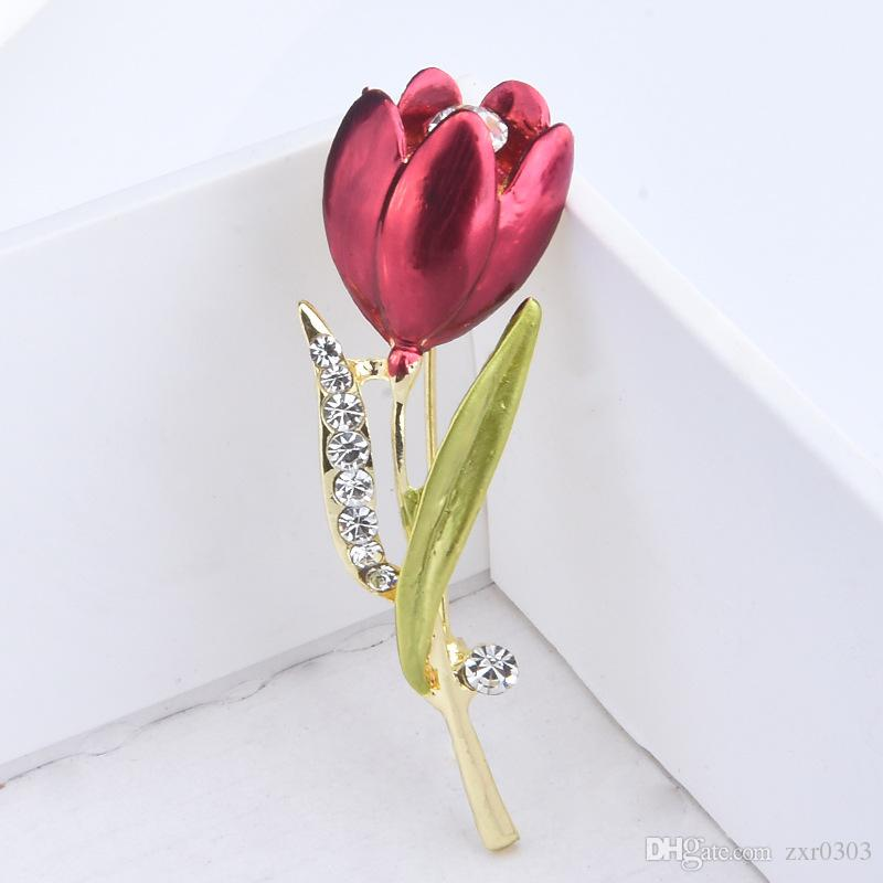 Elegante Tulipa Flor Broche Pin Jóias de Traje de Cristal Roupas Acessórios Jóias Broches Para as mulheres presente de Casamento