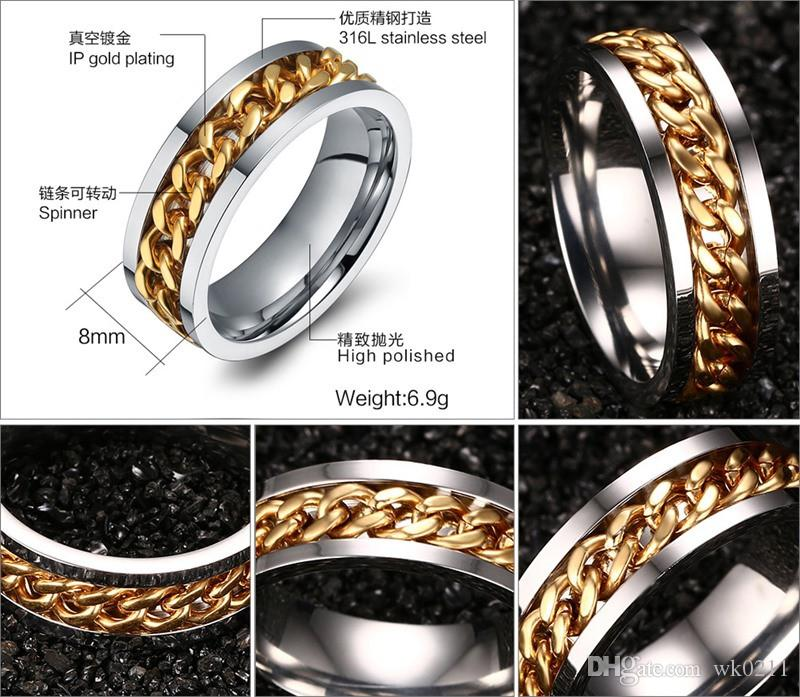 Мода Spinner черный кольцо цепи для мужчин Панк Титан Сталь Металл Vnox Марка Finger Анель