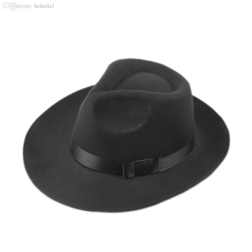 2019 Wholesale Unisex Men Women Felt Fedora Hat Cappelli Jazz Felt Floppy  Ribbon Band Wide Brim Panama Hat Elegant Gorras Hombre Gangster Cap 7 From  Heheda1 ... ce5a8f33509