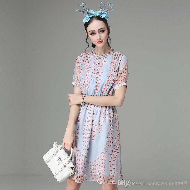 Kadınlar Zarif Yeni Yaz Kırmızı Kalp Baskılı Düğme O-Boyun A-line Elbiseler Büyük Hem Şifon Elbise Parti Balo Vestidos Femininos Artı Boyutu